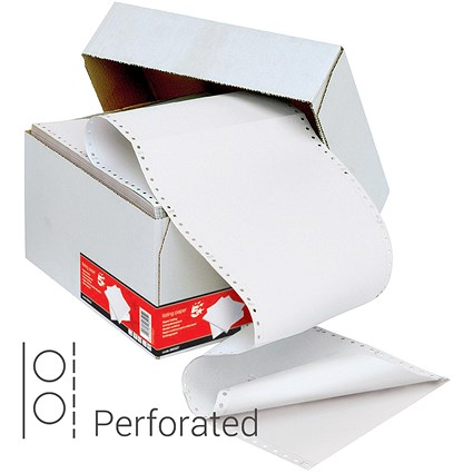 5 Star Computer Listing Paper / 2 Part / 11 inch x 241mm / Perforated / Both Sheets are White / Box (1000 Sheets)