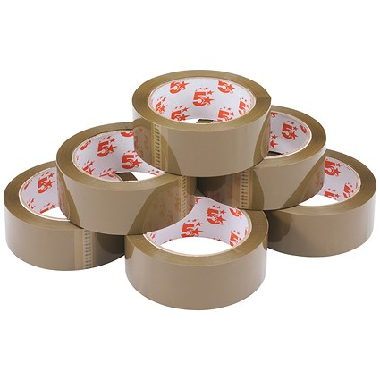 5 Star Packaging Tape / Polypropylene / 38mm x 66m / Buff / Pack of 6