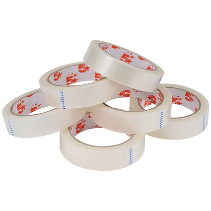 5 Star Large Clear Tape Rolls / 25mm x 66m / Pack of 6