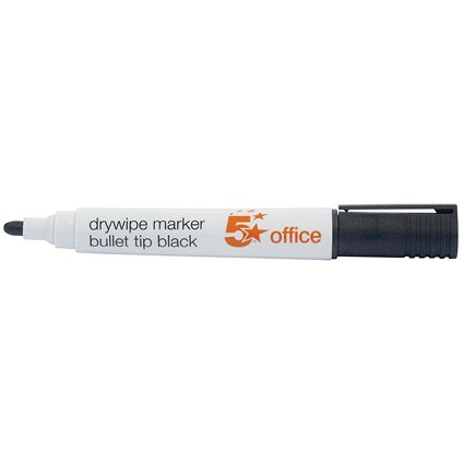5 Star Drywipe Marker / Bullet Tip / Black / Pack of 12
