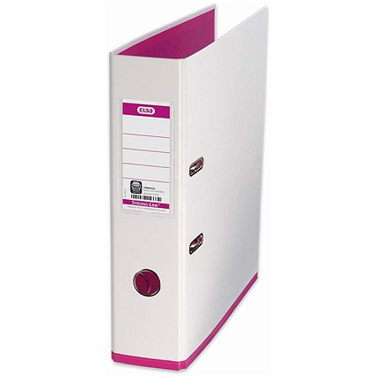 Elba MyColour A4 Lever Arch File, Plastic, 80mm Spine, White & Pink