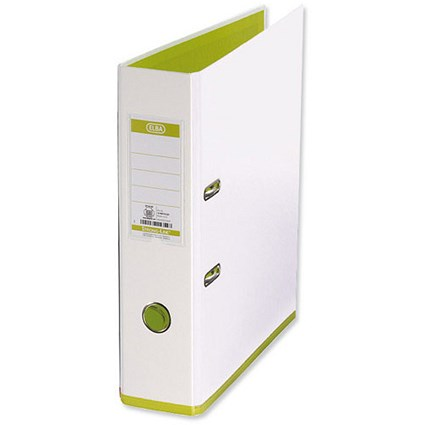 Elba MyColour A4 Lever Arch File, Plastic, 80mm Spine, White & Lime