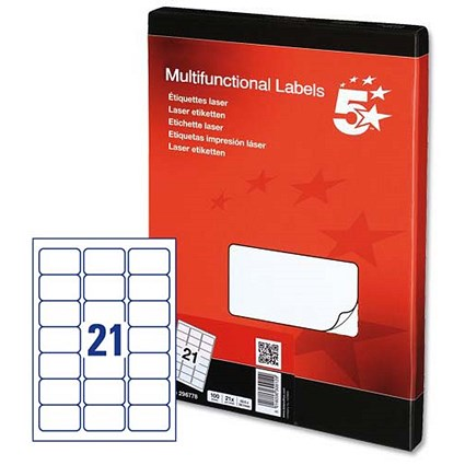 5 Star Multipurpose Laser Labels, 21 per Sheet, 63.5x38.1mm, White, 2100 Labels