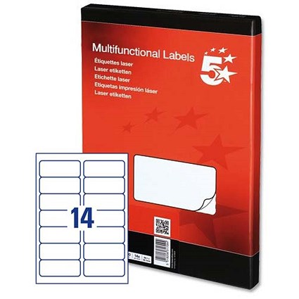 5 Star Multipurpose Laser Labels, 14 per Sheet, 99.1x38.1mm, White, 1400 Labels