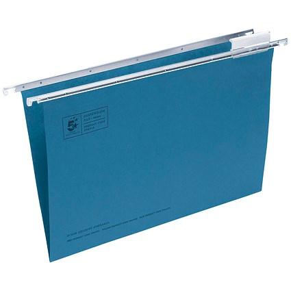 5 Star Suspension Files, V Base, 15mm Capacity, Foolscap, Blue, Pack of 50