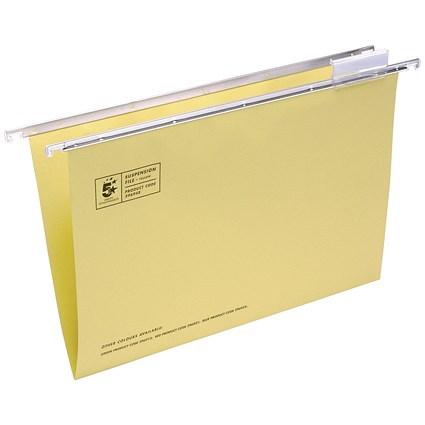 5 Star Suspension Files, V Base, 15mm Capacity, Foolscap, Yellow, Pack of 50