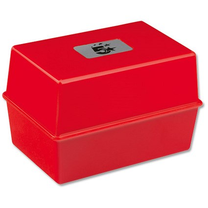 5 Star Card Index Box / Capacity: 250 Cards / 127x76mm / Red