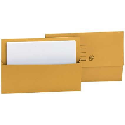 5 Star Document Wallets Half Flap / 250gsm / Foolscap / Yellow / Pack of 50