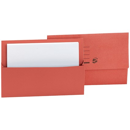 5 Star Document Wallets Half Flap, 250gsm, Foolscap, Red, Pack of 50