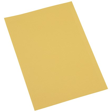 5 Star Square Cut Folders / 250gsm / Foolscap / Yellow / Pack of 100