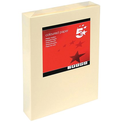 5 Star A4 Multifunctional Coloured Paper, Light Cream, 80gsm, Ream (500 Sheets)
