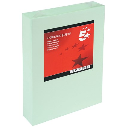 5 Star A4 Multifunctional Coloured Paper / Light Green / 80gsm / Ream (500 Sheets)