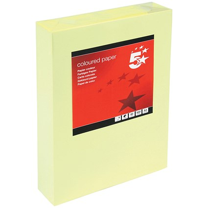 5 Star A4 Multifunctional Coloured Paper, Light Yellow, 80gsm, Ream (500 Sheets)