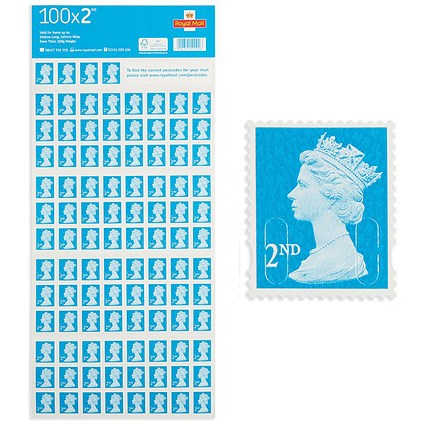 Royal Mail 2nd Class Postage Stamps 100 Per Pack Paperstone