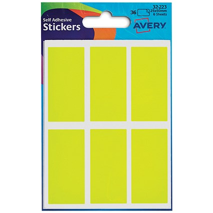 Avery Coloured Labels / 25 x 50mm / Fluorescent Yellow / 32-223 / 10 x 36 Labels