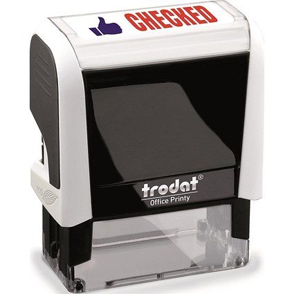 "Trodat Office Printy Self-Inking Stamp / ""Checked"" / Reinkable / Red & Blue"