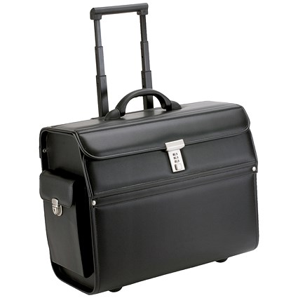 Alassio Mondo Trolley Pilot Case / 2 Combination Locks / Leather-look / Black