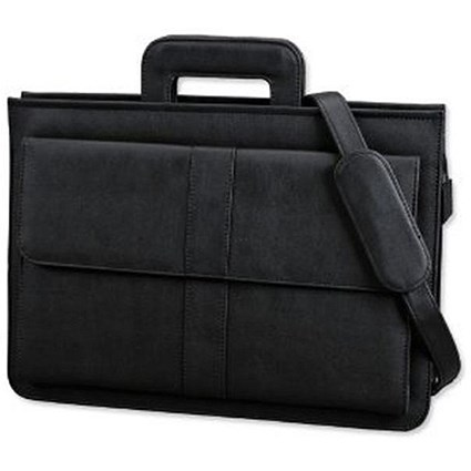 Alassio Document Case / Multi-section / Zipped with Shoulder Strap / Leather-look / Black