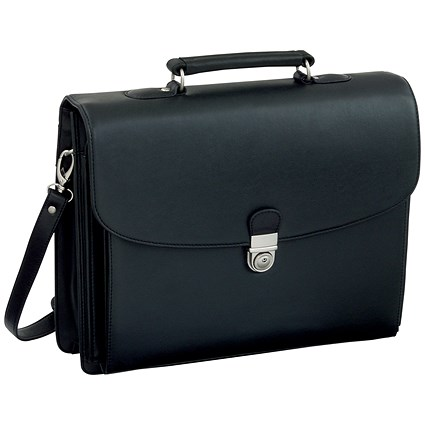 Alassio Forte Briefcase with Shoulder Strap / 5 Document Sections / Leather-look / Black