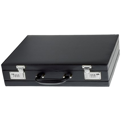 Alassio Ponte Attaché Case / Multi-section / Expandable by 20mm / Leather-look / Black
