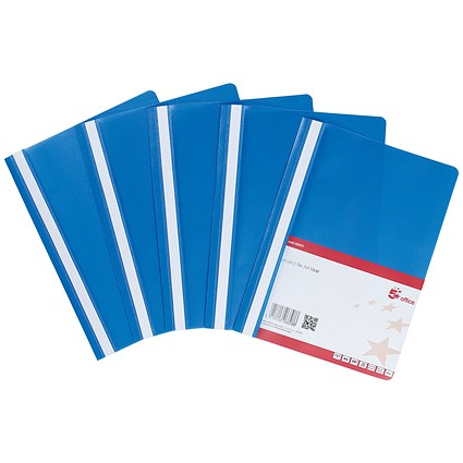 5 Star A4 Project Flat Files / Indexing Strip / Blue / Pack of 5