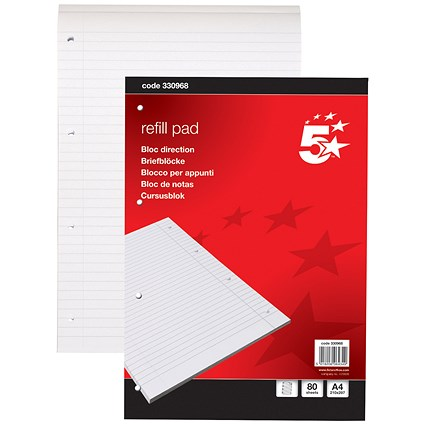 5 Star Headbound Refill Pad, A4, Feint Ruled with Margin, 4 Holes, 80 Sheets, Pack of 10