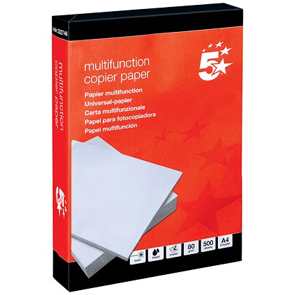 5 Star A4 Multifunctional Paper, White, 80gsm, Ream (500 Sheets)