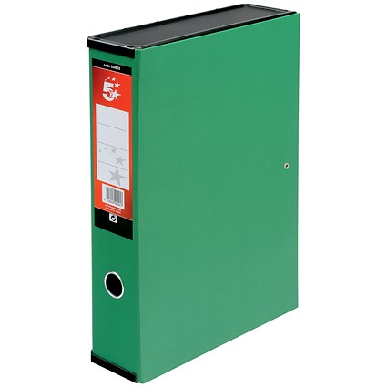 5 Star Box File / Spring Lock / 75mm Spine / Foolscap / Green / Pack of 5