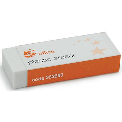 5 Star Plastic Eraser, Paper-sleeved, Pack of 10
