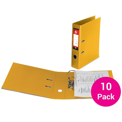 5 Star A4 Lever Arch Files, Plastic, Yellow, Pack of 10