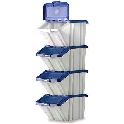 Storage Container Bin / 50 Litre / White & Blue Lid / Pack of 4