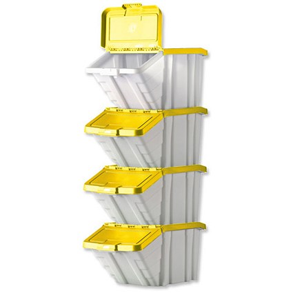 Storage Container Bin / 50 Litre / White & Yellow Lid / Pack of 4