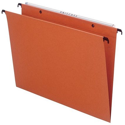 Bantex Linking Suspension Files / Square Base / 30mm Capacity / Foolscap / Orange / Pack of 25