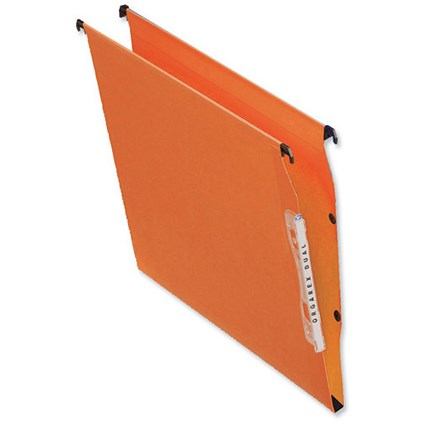 Bantex Linking Kraft Lateral Files, 330mm Width, 30mm Square Base, Orange, Pack of 25