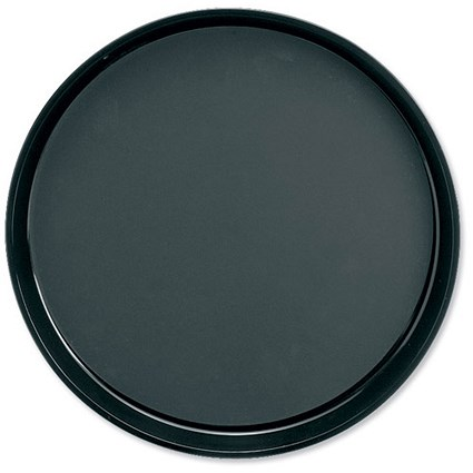 Dishwasher Safe Non-Slip Plastic Round Tray, Diameter 300mm, Black