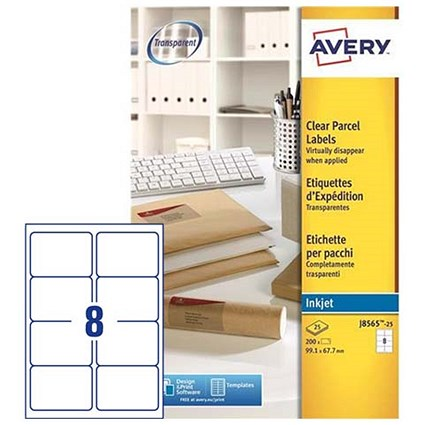 Avery Clear Addressing Labels, 8 per Sheet, 99.1x67.7mm, J8565-25, 200 Labels