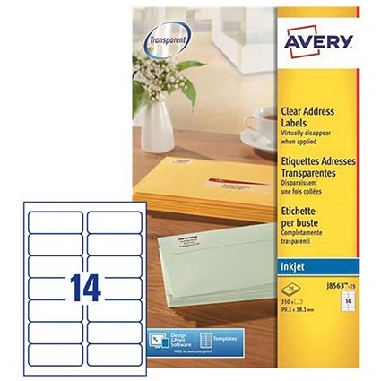 Avery Clear Addressing Labels / 14 per Sheet / 99.1x38.1mm / J8563-25 / 350 Labels