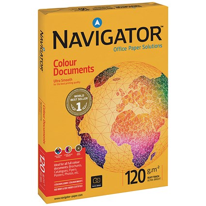 Navigator A4 Colour Documents Paper, White, 120gsm, 250 Sheets