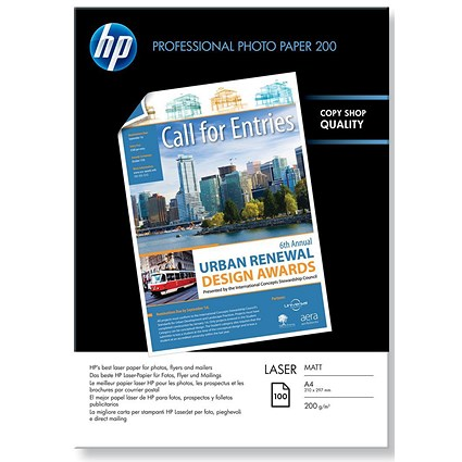HP A4 Professional Matt Laser Photo Paper, White, 200gsm, Pack of 100