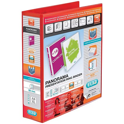 Elba Panorama Presentation Binder / A4 / 4 D-Ring / 50mm Capacity / Red / Pack of 4