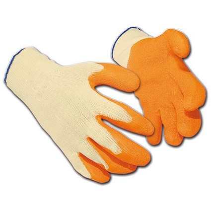 Latex Polyester Gloves, Large, Orange, 12 Pairs