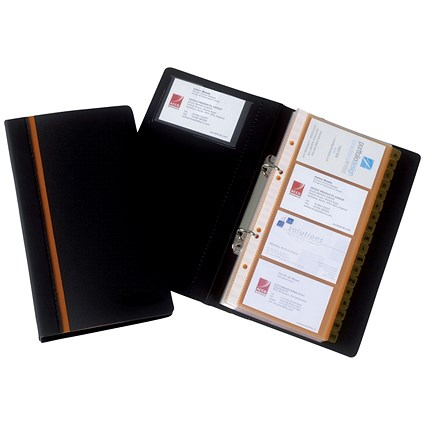 Rexel Business Card Book, Professional Ring Binder with A-Z Index, Capacity: 128 Cards