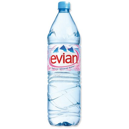 Evian Natural Mineral Water - 12 x 1.5 Litre Plastic Bottles