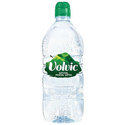 Volvic Natural Mineral Water - 12 x 1 Litre Sports Cap Plastic Bottles