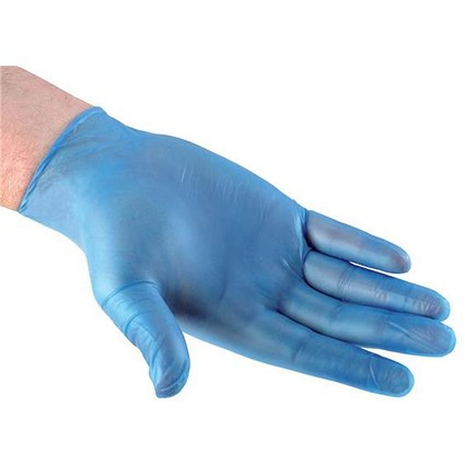 Blue Grip Vinyl Gloves, Large, Blue, 50 Pairs