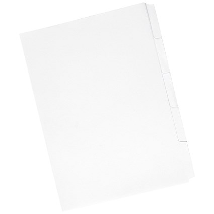 Concord Presentation Dividers, Unpunched, Reverse Tabs, 5-Part, A4, White, Pack of 50