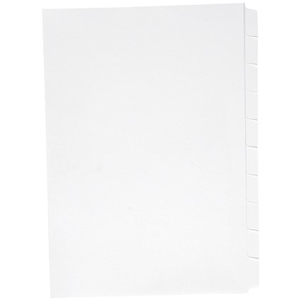 Concord Presentation Dividers / Unpunched / Reverse Tabs / 10-Part / A4 / White / Pack of 25