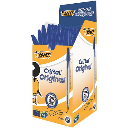 Bic Cristal Ball Pen / Clear Barrel / Blue / Pack of 50