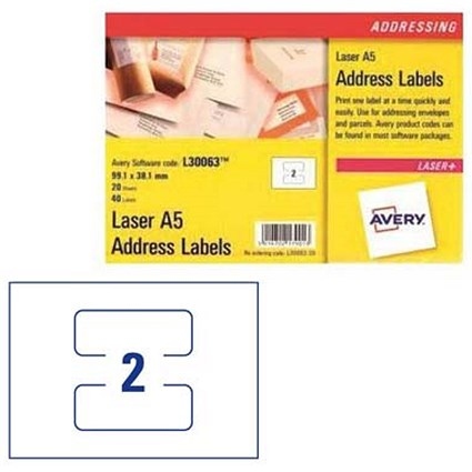 Avery Laser Addressing Labels / A5 Sheet of 2 Each / 99.1x38.1mm / L30063-20 / 40 Labels