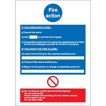 Stewart Superior Fire Action, If you discover fire Sign W210xH297mm Self-adhesive Vinyl